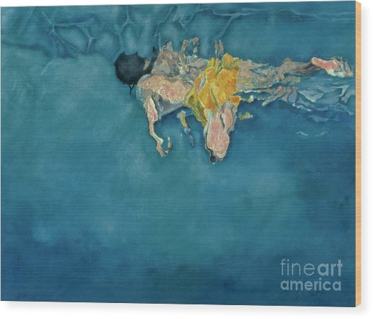 Swimmer In Yellow Wood Print