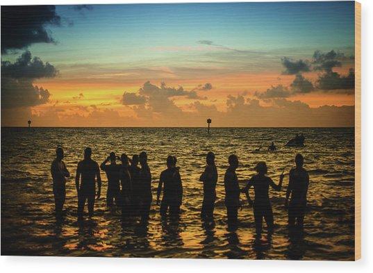 Swimmers Sunrise Wood Print