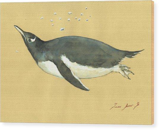 Swimming Penguin Wood Print