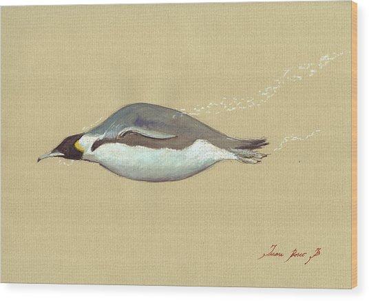 Swimming Penguin Painting Wood Print
