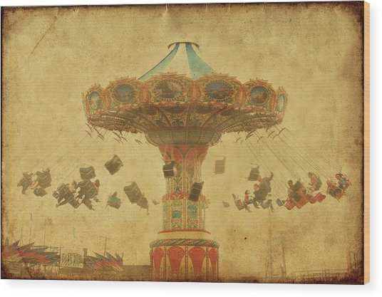 Swing Chair Ride At Jenkinsons Boardwalk - Jersey Shore Wood Print