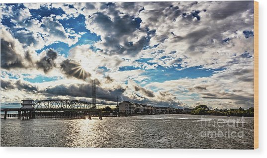 Swing Bridge Drama Wood Print