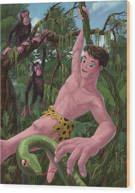 Swinging Boy Tarzan Wood Print