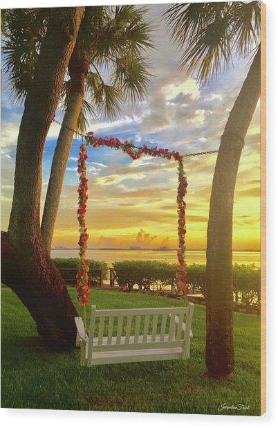 Swinging In Sunset Wood Print
