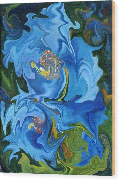 Swirled Blue Poppies Wood Print