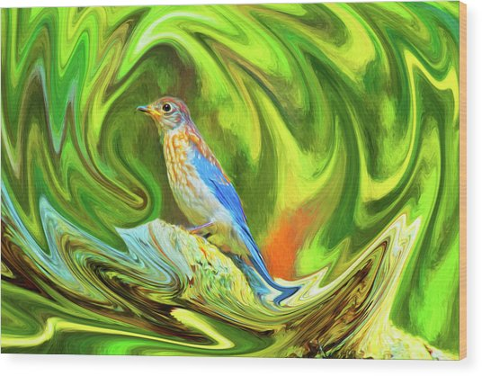 Swirling Bluebird Abstract Wood Print