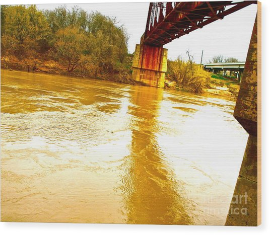 Swirling Good Water And Brazos Bridge Wood Print by Chuck Taylor
