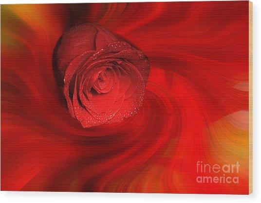 Swirling Rose Wood Print