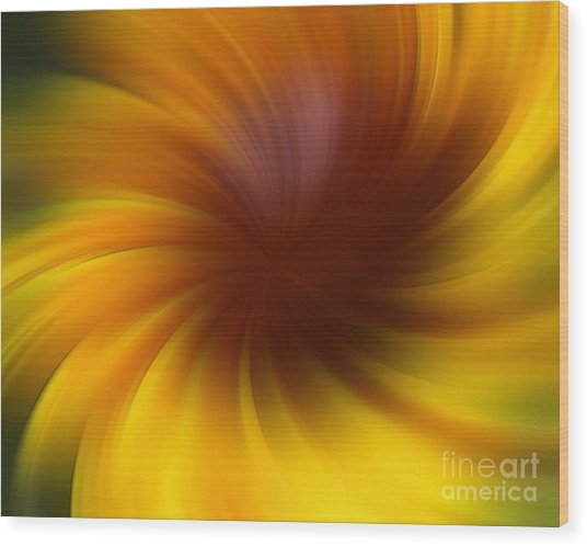 Swirling Yellow And Brown Wood Print