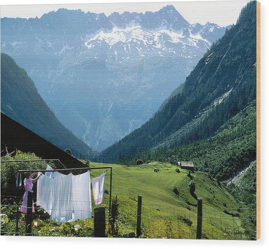 Swiss Laundry Wood Print by Joe Bonita