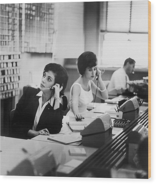 Switchboard Wood Print by Archive Photos