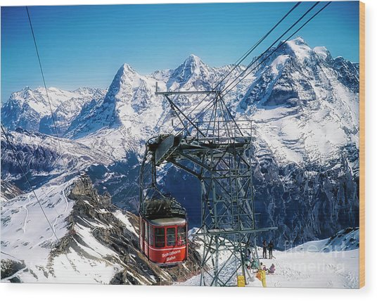 Switzerland Alps Schilthorn Bahn Cable Car  Wood Print