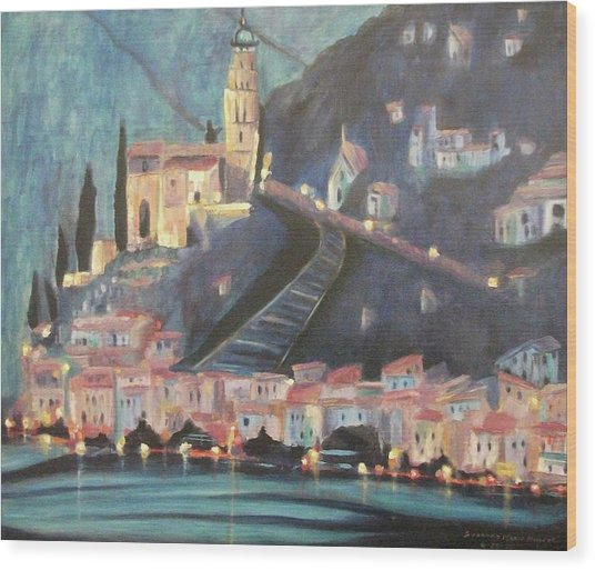 Switzerland By Night Wood Print by Suzanne  Marie Leclair