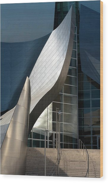 Wood Print featuring the photograph Swoops And Lines Of Disney Hall by Lorraine Devon Wilke
