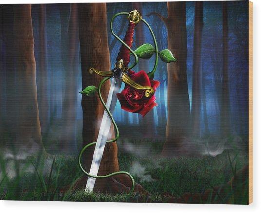 Sword And Rose Wood Print