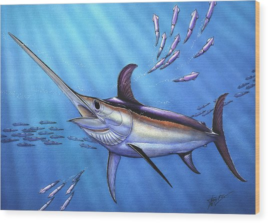 Swordfish In Freedom Wood Print