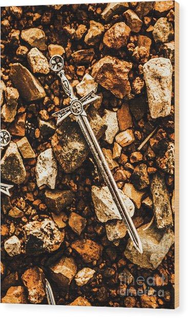 Swords And Legends Wood Print