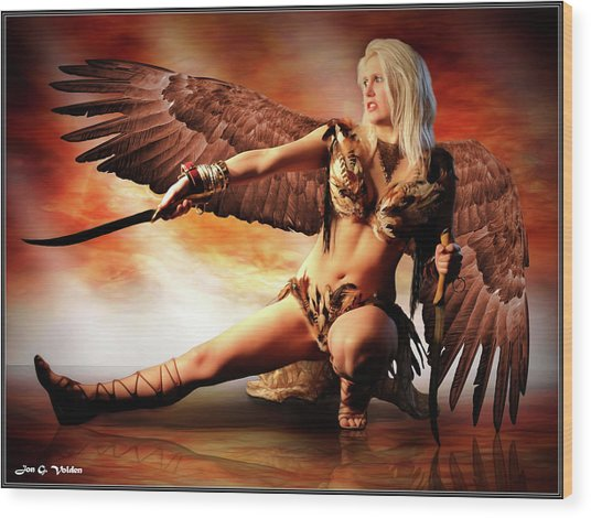 Swords Of The Hawk Woman Wood Print