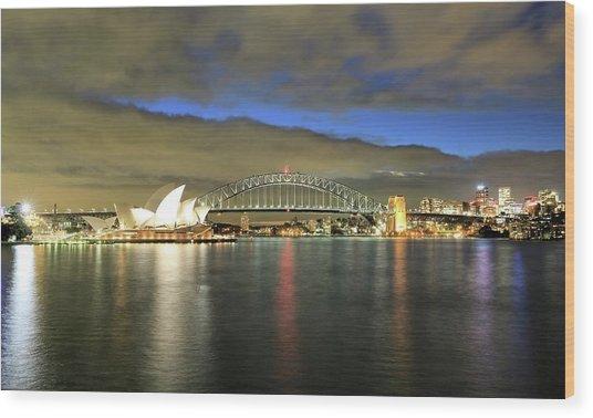 Sydney Harbor At Blue Hour Wood Print