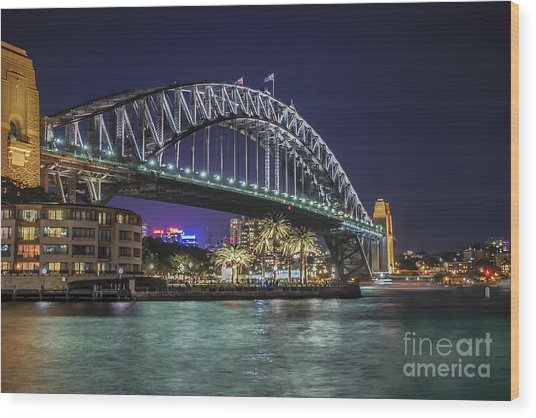 Sydney Harbor Bridge At Night Wood Print