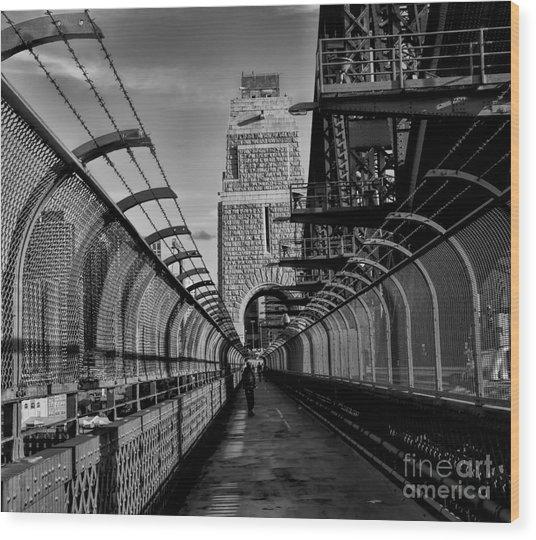 Sydney Harbor Bridge Bw Wood Print