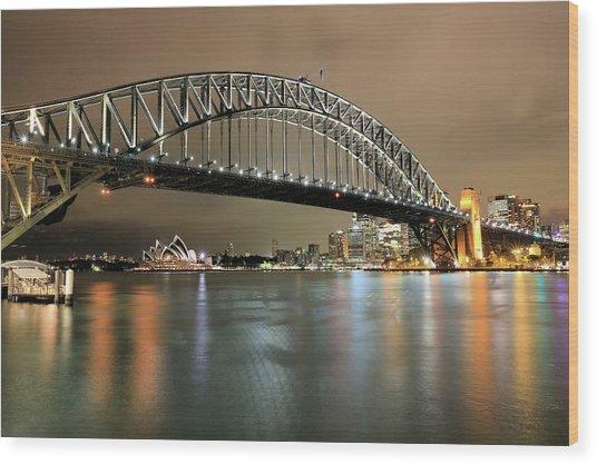 Sydney Harbour At Night Wood Print