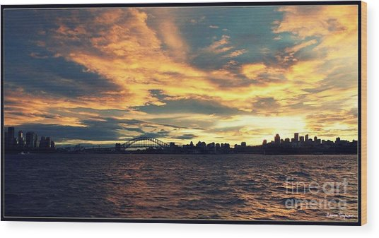 Sydney Harbour At Sunset Wood Print