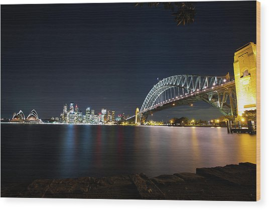 Sydney Harbour Silk Wood Print