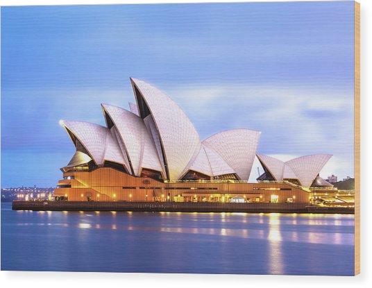 Sydney Opera House At Dawn Wood Print