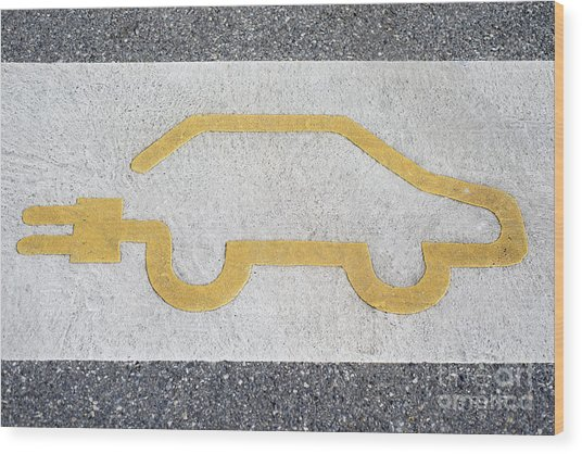 Symbol For Electric Car Wood Print