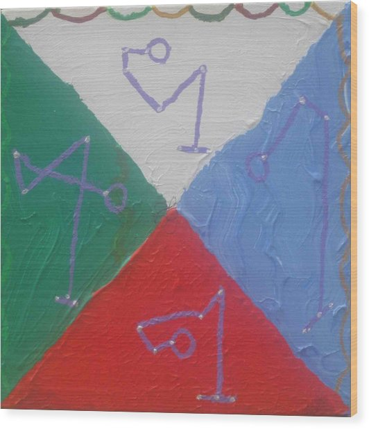 Wood Print featuring the painting Symbols And Colors Of Archangels One by AJ Brown