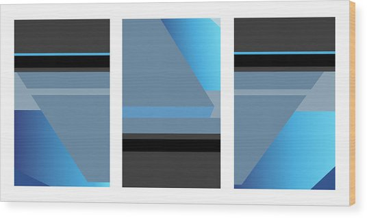 Symphony In Blue - Triptych 1 Wood Print