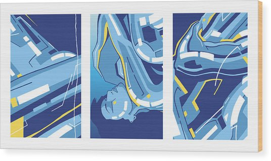 Symphony In Blue - Triptych 4 Wood Print