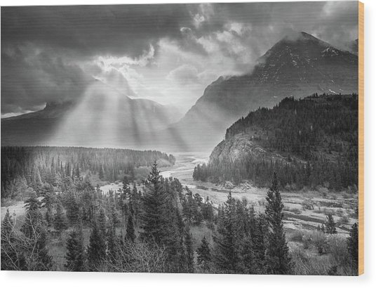 Symphony Of Light // Many Glacier, Glacier National Park Wood Print