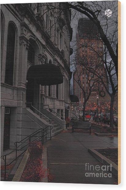 Syracuse At Night Wood Print by Debra Millet