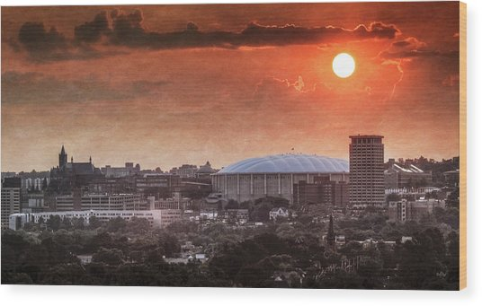Syracuse Sunrise Over The Dome Wood Print