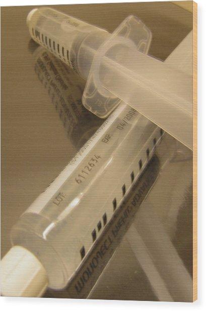 Syringe Wood Print by Heather Weikel