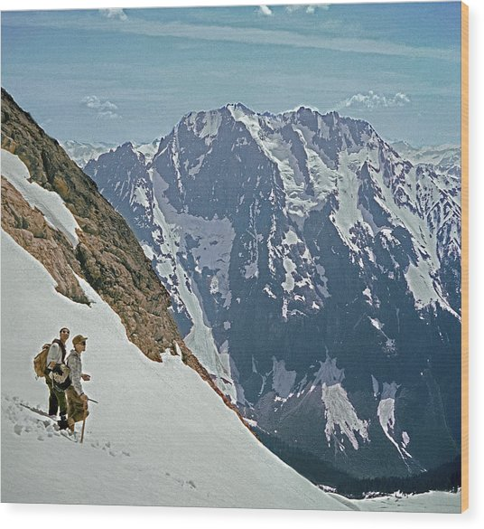 T-04402 Fred Beckey And Joe Hieb After First Ascent Forbidden Peak Wood Print