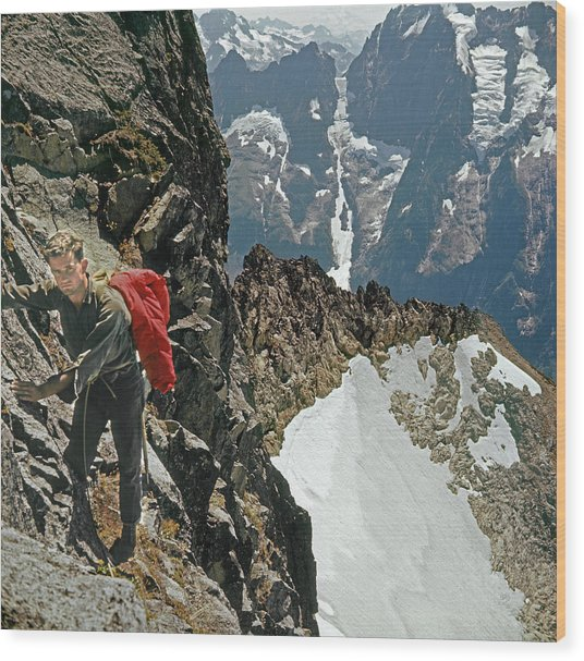 T-04403 Walt Buck Sellers On First Ascent Of Mt. Torment Wood Print