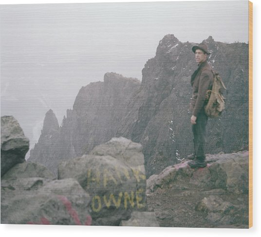 T-04701 Fred Beckey On Mt. Si 1958  Wood Print