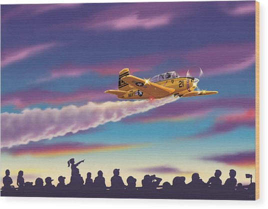 T-34 Night Show Wood Print by Barry Munden