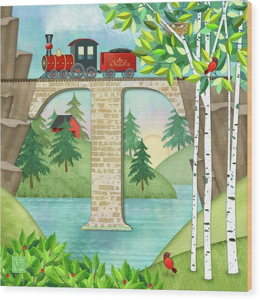 T Is For Train And Train Trestle Wood Print