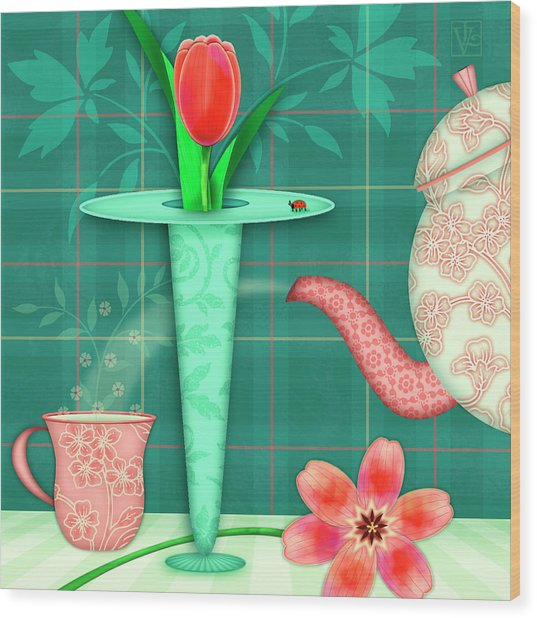 T Is For Two Tulips With Tea Wood Print