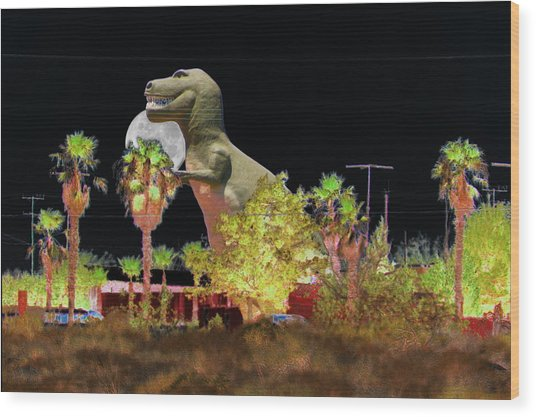 T-rex In The Desert Night Wood Print