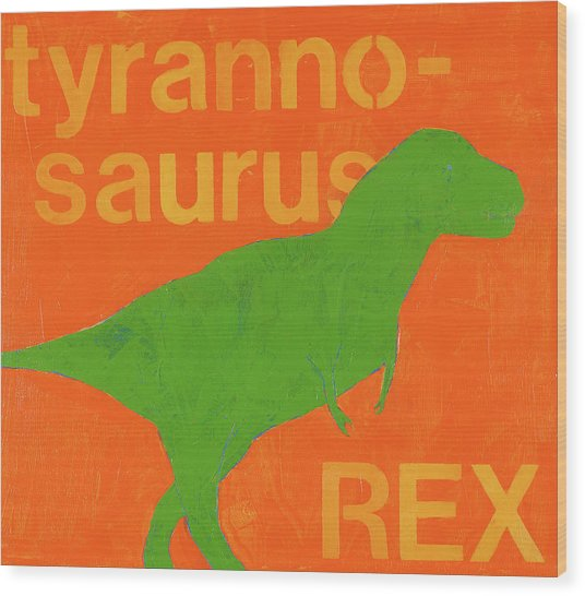 T Rex Wood Print by Laurie Breen