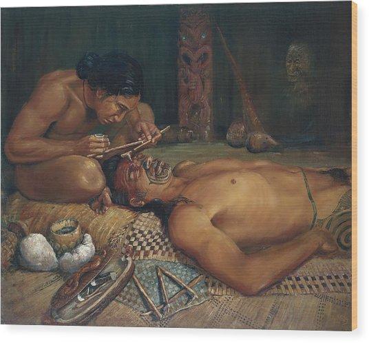 Ta Moko Wood Print by Peter Jean Caley