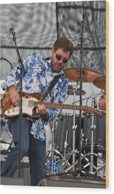 Tab Benoit Plays His 1972 Fender Telecaster Thinline Guitar Wood Print