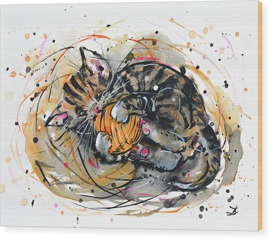 Tabby Kitten Playing With Yarn Clew  Wood Print