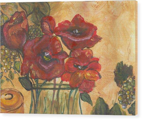 Table Flowers Wood Print by Pamela Wilson