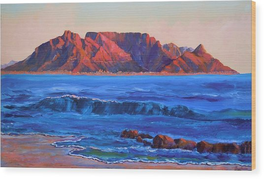 Table Mountain Aglow Wood Print